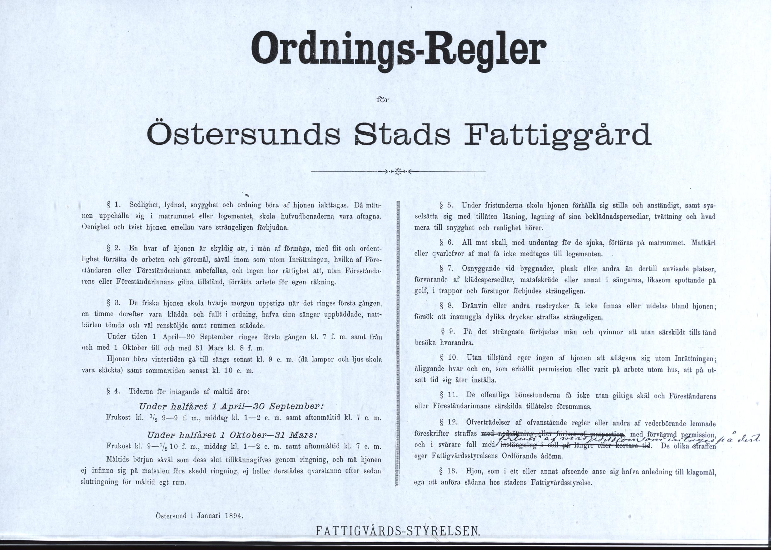 Ordningsregler för Östersunds Stads Fattiggård 1894. Från Östersunds kommunarkiv
