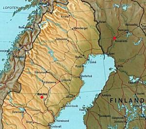 Här ser du var Rovaniemi och Backe ligger.