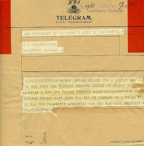 Innan mail och sms, var att skicka ett telegram det snabbaste kommunikationssättet. Det användes flitigt under andra världskriget. Handlingen kommer från, Landsfogden i Jämtlandslänsarkiv D3a:11