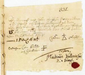 Kvittot på att bödeln fått betalt, efter att ha halshuggit Gertrud och 1674.